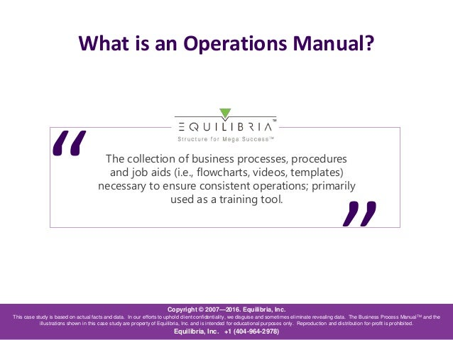 Business operation manual daily instruction manual guides creating an operations manual for a small business a case study rh slideshare net business operations manual example business operations manual example fbccfo Images