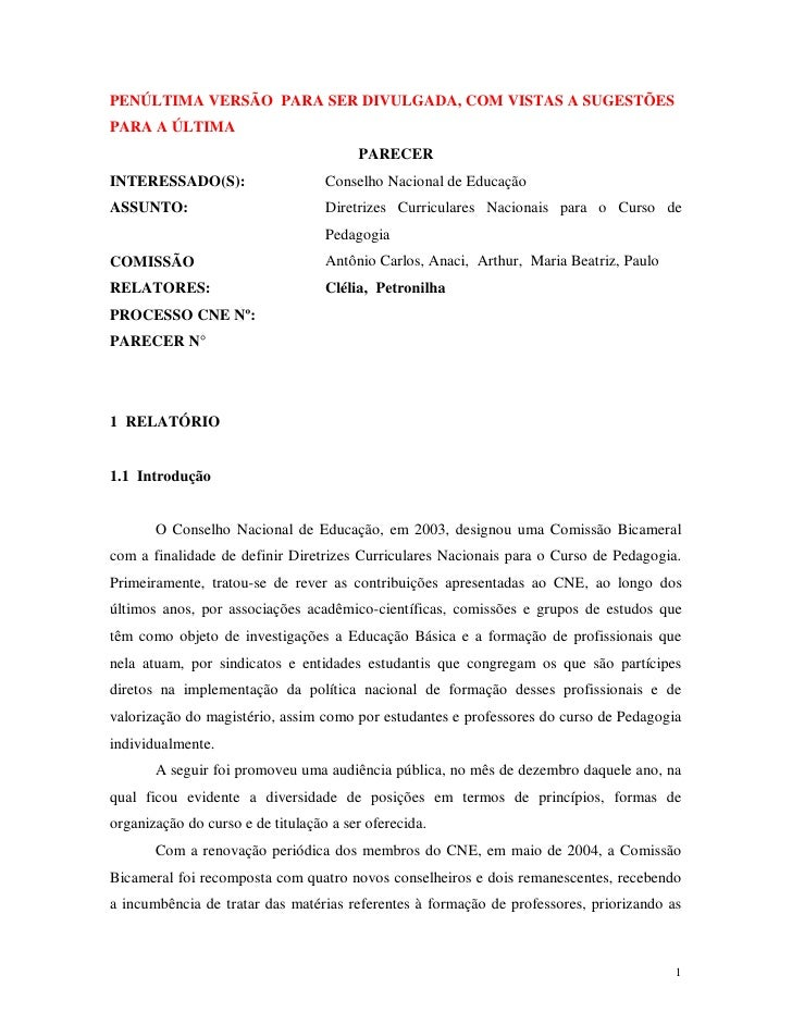 PENÚLTIMA VERSÃO PARA SER DIVULGADA, COM VISTAS A SUGESTÕES PARA A ÚLTIMA                                         PARECER ...