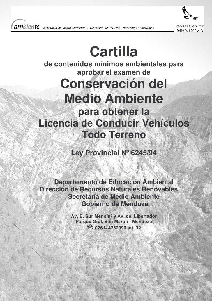 Cartilla  de contenidos mínimos ambientales para           aprobar el examen de       Conservación del       Medio Ambient...