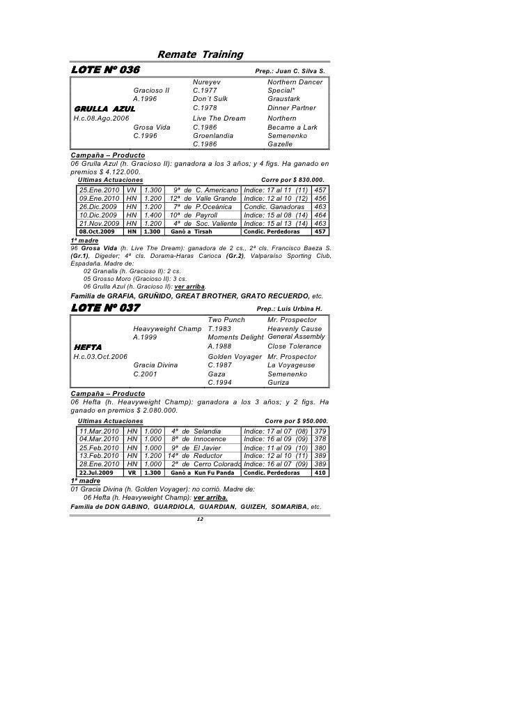 Remate Training LOTE Nº 036         036                                                     Prep.: Juan C. Silva S.       ...