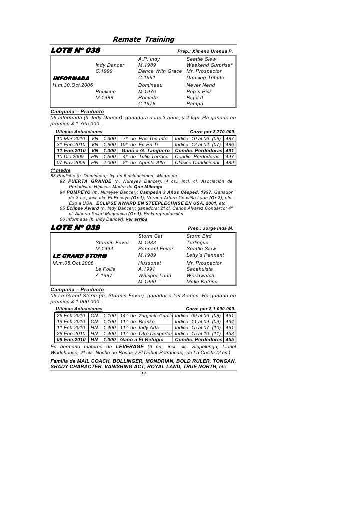 Remate Training LOTE Nº 038         038                                                 Prep.: Ximeno Urenda P.           ...