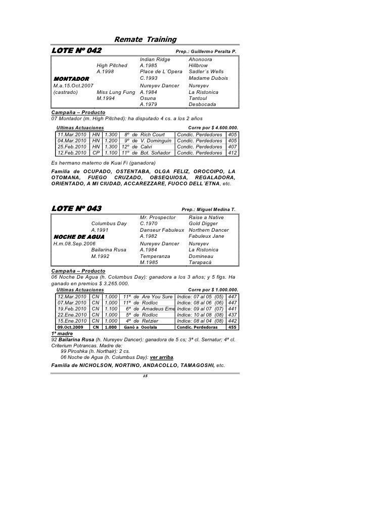 Remate Training LOTE Nº 042         042                                                  Prep.: Guillermo Peralta P.      ...
