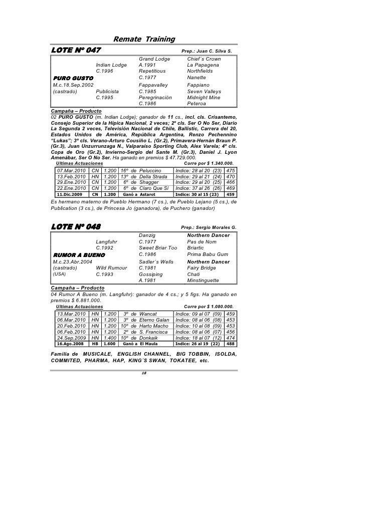 Remate Training LOTE Nº 047         047                                             Prep.: Juan C. Silva S.               ...