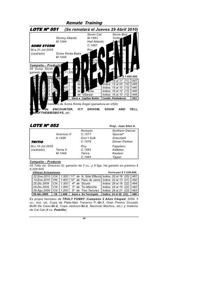 Remate Training LOTE Nº 051         051               (Se rematará el Jueves 29 Abril 2010)                               ...