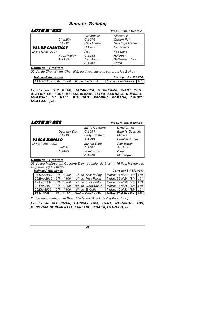 Remate Training LOTE Nº 055                                                        Prep.: Juan P. Baeza J.                ...