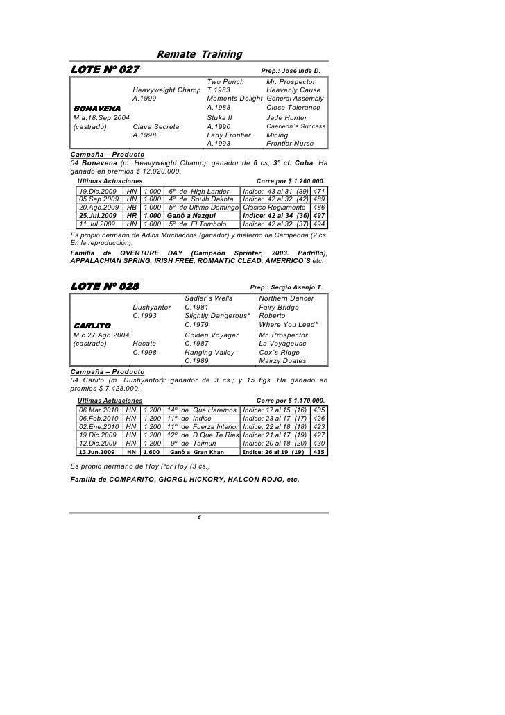 Remate Training LOTE Nº 027         027                                                        Prep.: José Inda D.        ...