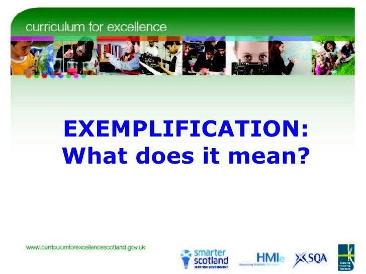 EXEMPLIFICATION: What does it mean?