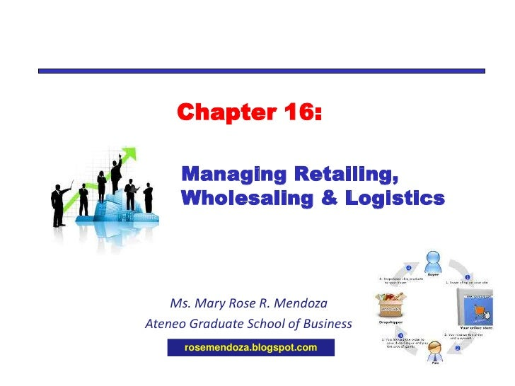 TOP 10 Learning Questions for<br />Chapter 16: Managing Retailing, Wholesaling and Logistics<br />Mary Rose R. Mendoza<br ...