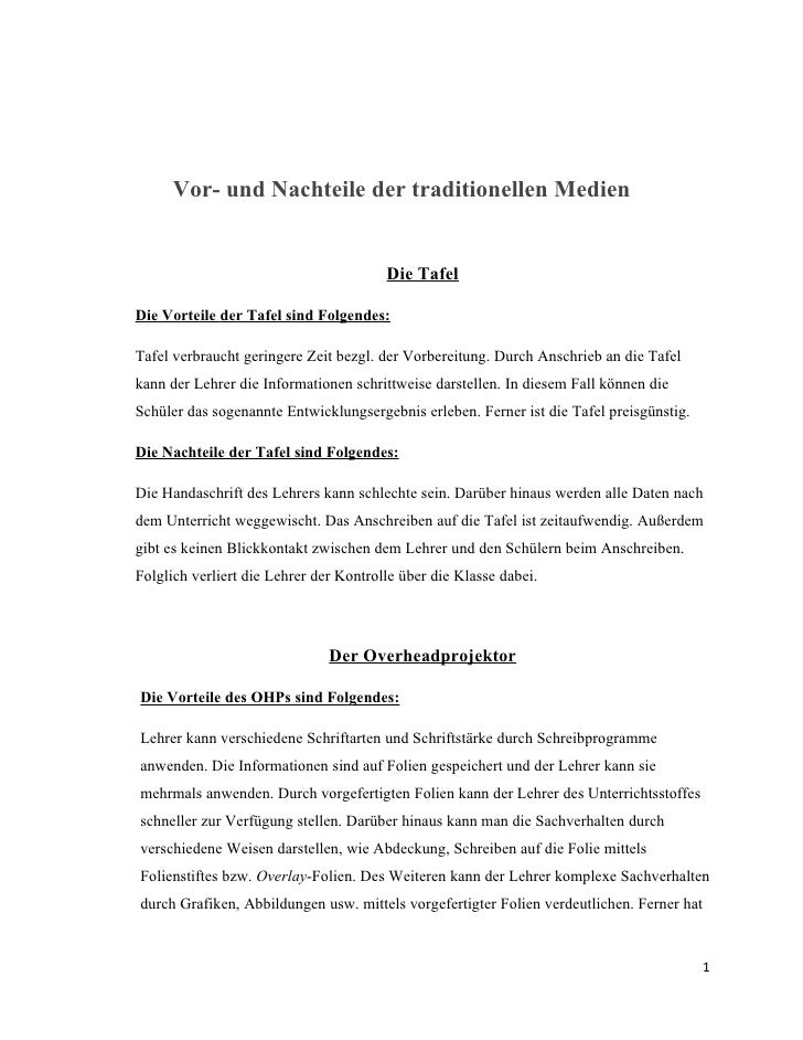 Tafel, Overheadprojektor und Arbeitsblatt