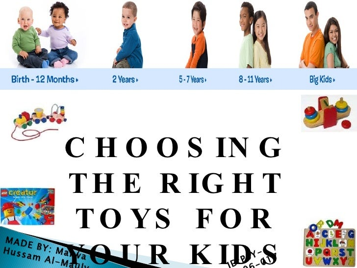 CHOOSING THE RIGHT TOYS FOR YOUR KIDS MADE BY: Marwa Hussam Al-Mauly ID:PSY-FA06-017