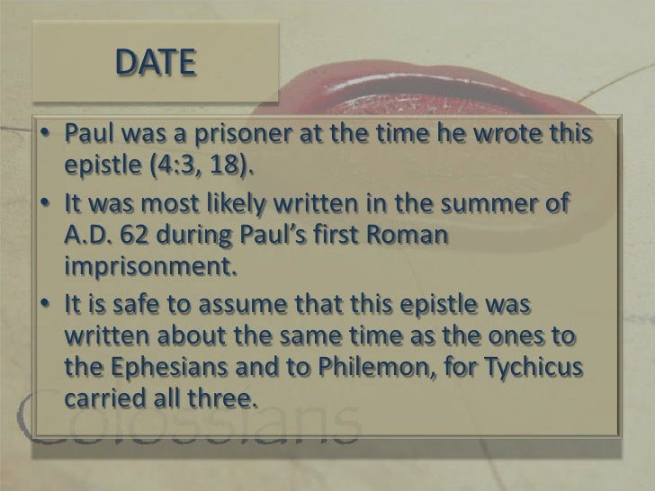 why was the book of colossians written