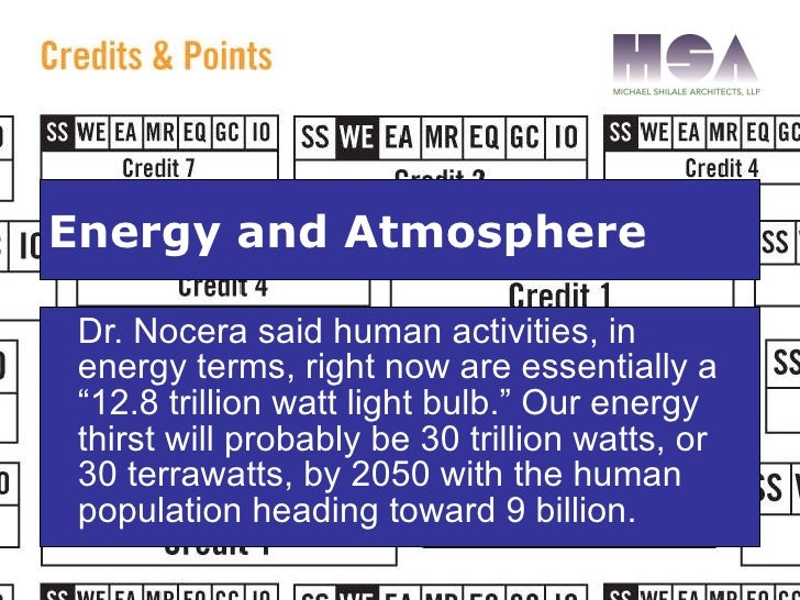 """<ul><li>Dr. Nocera said human activities, in energy terms, right now are essentially a """"12.8 trillion watt light bulb."""" Ou..."""