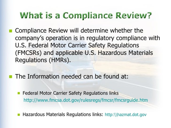 Federal Dot Compliance Review Ppt