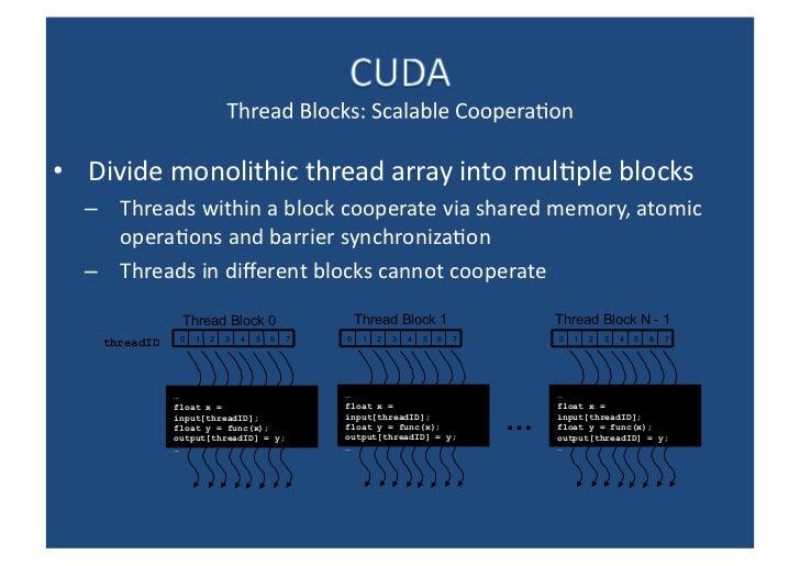 <ul><li>Divide monolithic thread array into multiple blocks </li></ul><ul><ul><li>Threads within a block cooperate via sha...