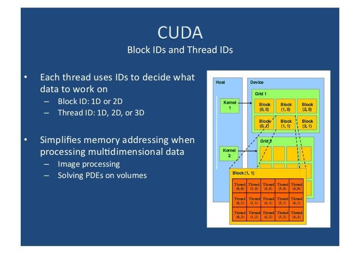 <ul><li>Each thread uses IDs to decide what data to work on </li></ul><ul><ul><li>Block ID: 1D or 2D </li></ul></ul><ul><u...