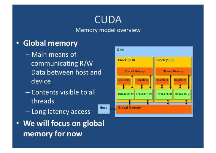 <ul><li>Global memory </li></ul><ul><ul><li>Main means of communicating R/W Data between host and device </li></ul></ul><u...