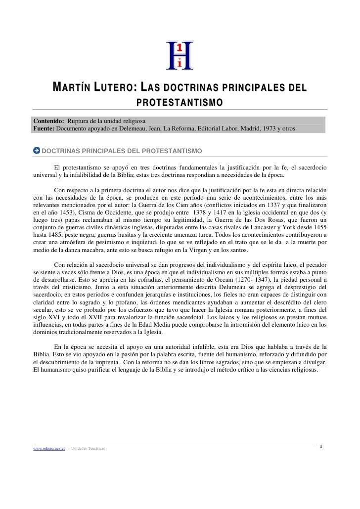 MARTÍN LUTERO: LAS DOCTRINAS PRINCIPALES DEL                                          PROTESTANTISMO Contenido: Ruptura de...