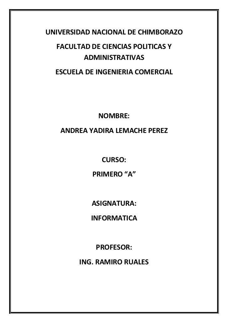 UNIVERSIDAD NACIONAL DE CHIMBORAZO<br />FACULTAD DE CIENCIAS POLITICAS Y ADMINISTRATIVAS<br />ESCUELA DE INGENIERIA COMERC...