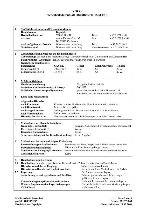 VOCO Sicherheitsdatenblatt (Richtlinie 91/155/EEC) 1 Stoff-/Zubereitungs- und Firmenbezeichnung Handelsname: Hersteller/Li...