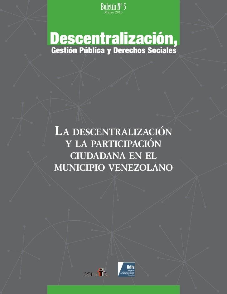 Boletín2010 5               Marzo                      Nº   Descentralización, Gestión Pública y Derechos Sociales     La ...