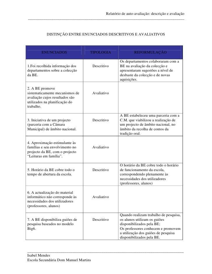 Relatório de auto-avaliação: descrição e avaliação _______________________________________________________________________...