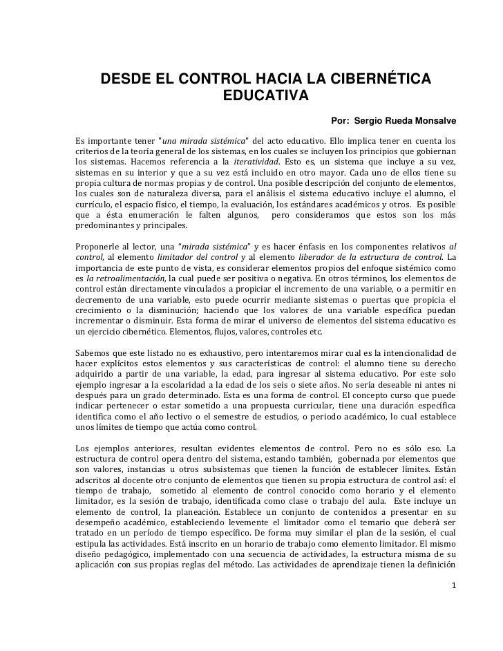 DESDE EL CONTROL HACIA LA CIBERNÉTICA                     EDUCATIVA                                                       ...