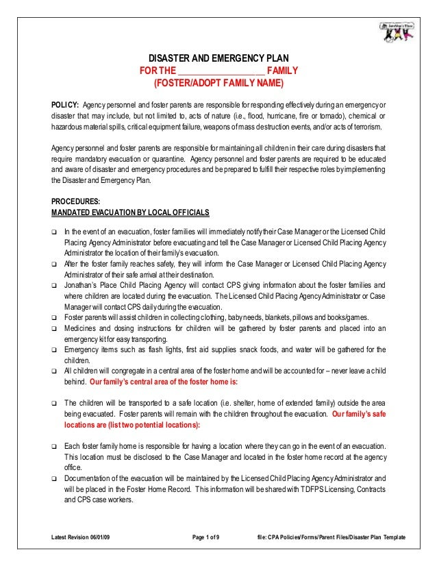 Disaster emergency plan template for families for Fire evacuation procedure template free