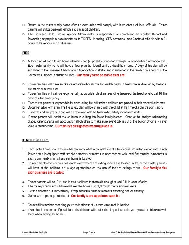 Disaster emergency plan template for families for Inclement weather policy template