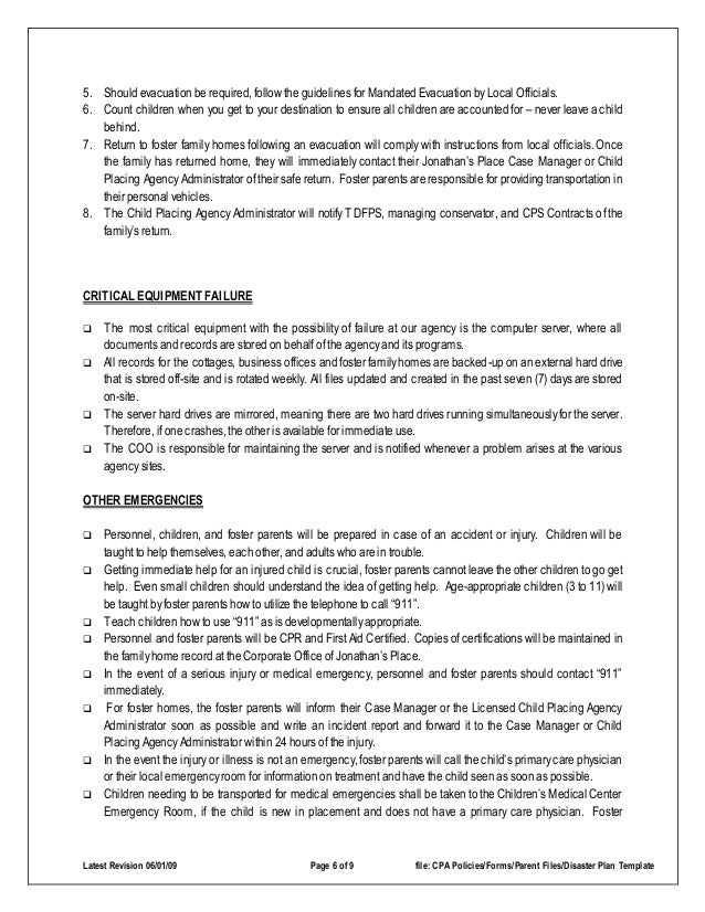 emergency preparedness plan for workplace