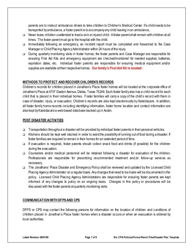 Disaster Emergency Plan Template For Families - Business emergency plan template
