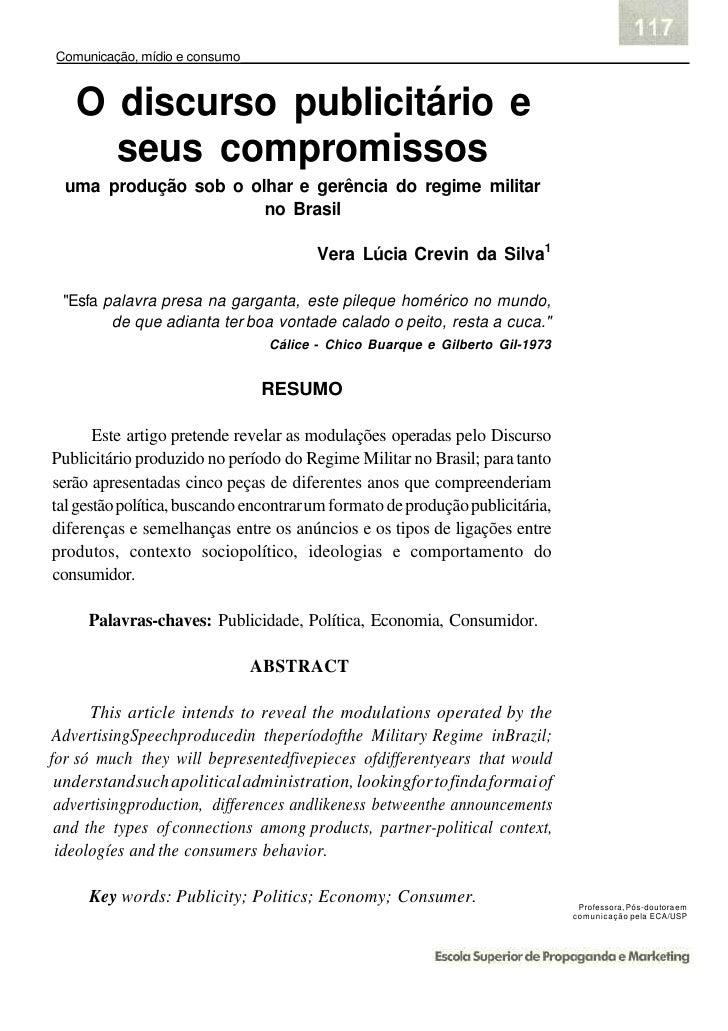 Comunicação, mídio e consumo      O discurso publicitário e      seus compromissos   uma produção sob o olhar e gerência d...