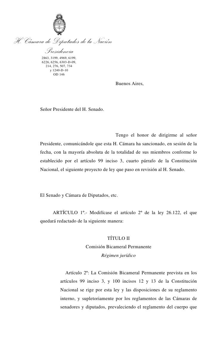H. Cámara de Diputados de la Nación          Presidencia           2863, 3199, 4969, 6199,           6226, 6256, 6303-D-09...
