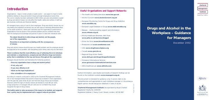 Drugs and Alcohol in the   Workplace – Guidance           for Managers               December 2002                        ...
