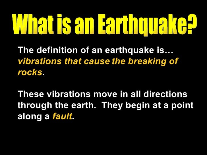 description of earthquake Many of the hazards to workers both during and following an earthquake are  predictable and may be reduced through hazard identification, planning, and.