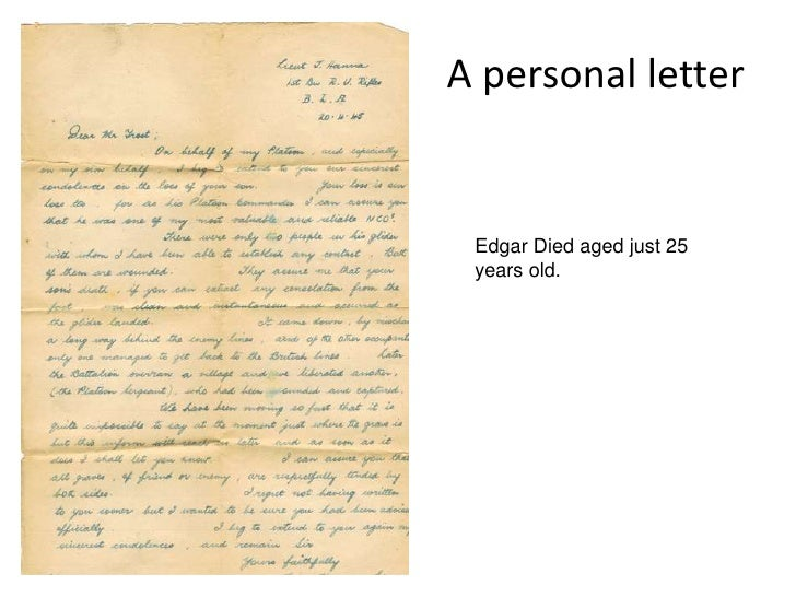A personal letter<br />Edgar Died aged just 25 years old.<br />