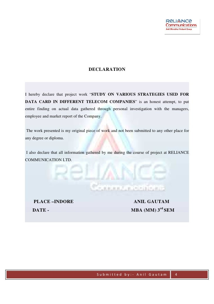 project report on reliance communication A study on the customers who shop at reliance trends ranchi.