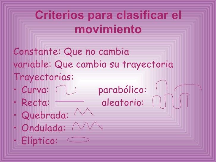 Criterios para clasificar el movimiento <ul><li>Constante: Que no cambia  </li></ul><ul><li>variable: Que cambia su trayec...
