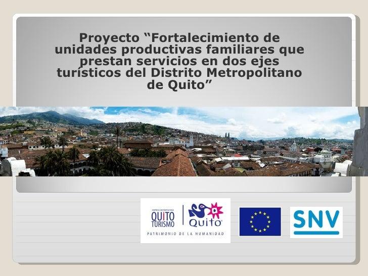 """Proyecto """"Fortalecimiento de unidades productivas familiares que prestan servicios en dos ejes turísticos del Distrito Met..."""