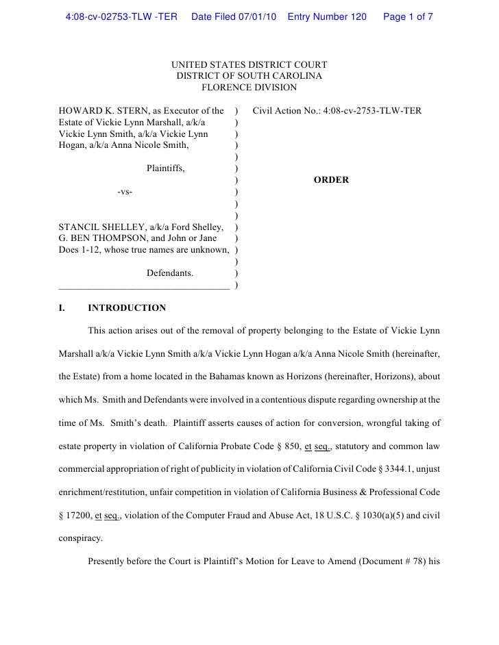 4:08-cv-02753-TLW -TER        Date Filed 07/01/10      Entry Number 120         Page 1 of 7                               ...