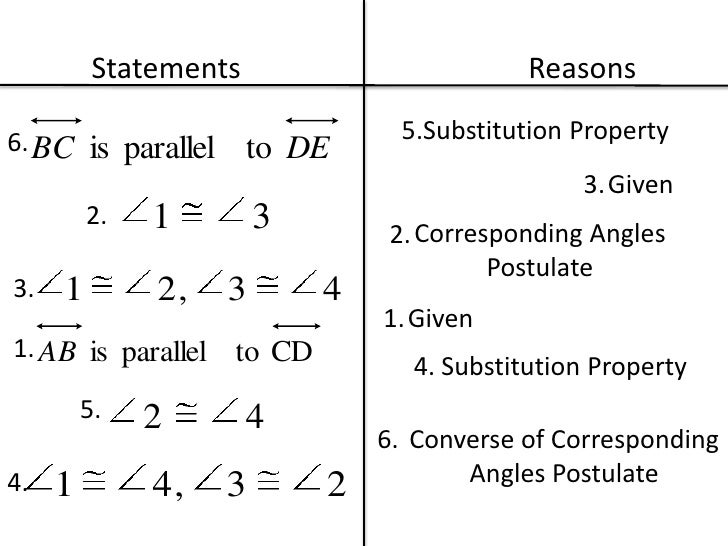 geometry proofs statements and reasons