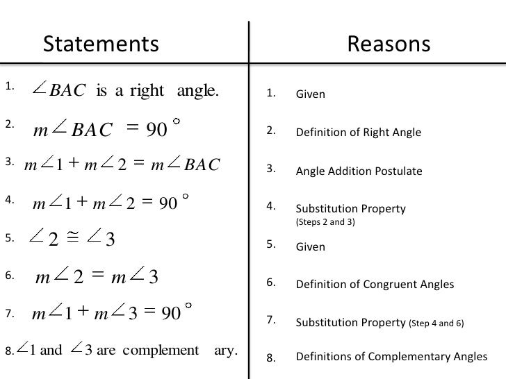 geometry statements and reasons