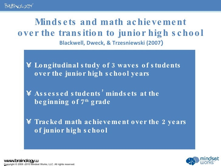 Mindsets and math achievement over the transition to junior high school   Blackwell, Dweck, & Trzesniewski (2007 ) <ul><li...
