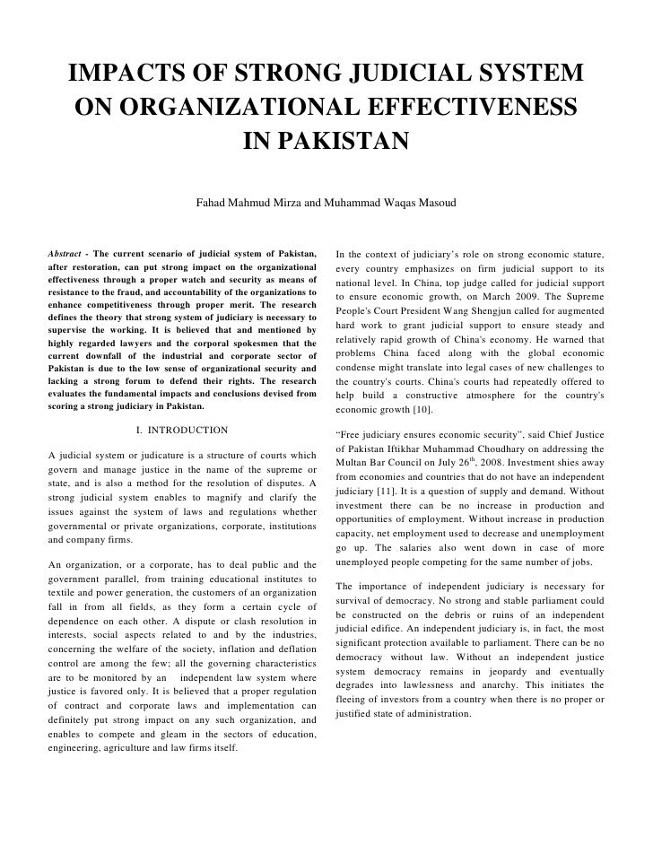 IMPACTS OF STRONG JUDICIAL SYSTEM      ON ORGANIZATIONAL EFFECTIVENESS                 IN PAKISTAN                        ...