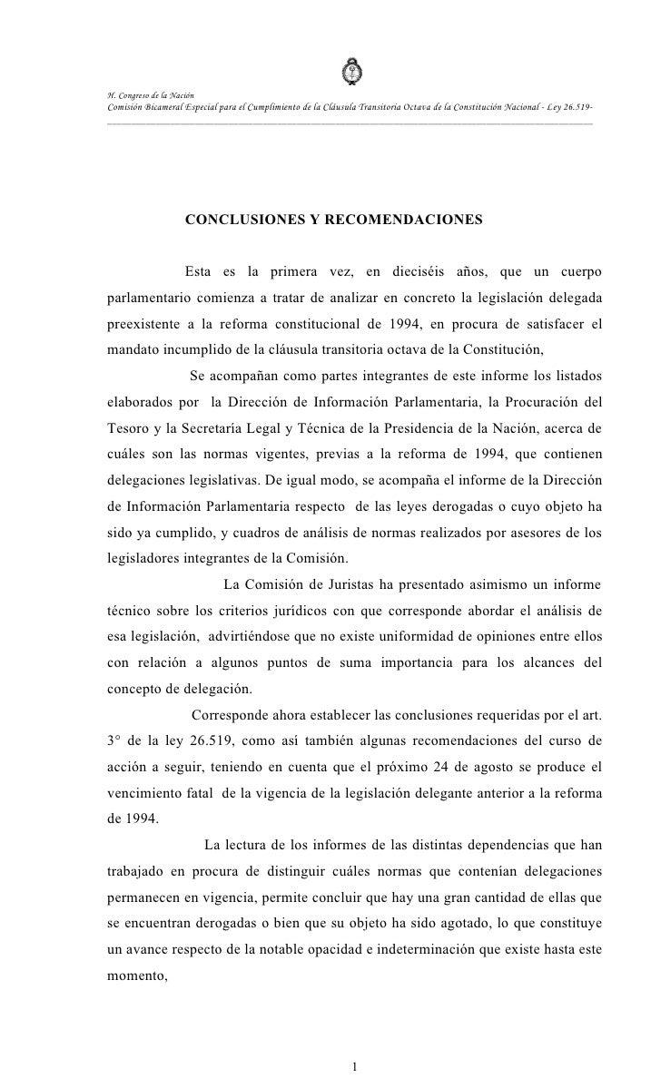 H. Congreso de la Nación Comisión Bicameral Especial para el Cumplimiento de la Cláusula Transitoria Octava de la Constitu...