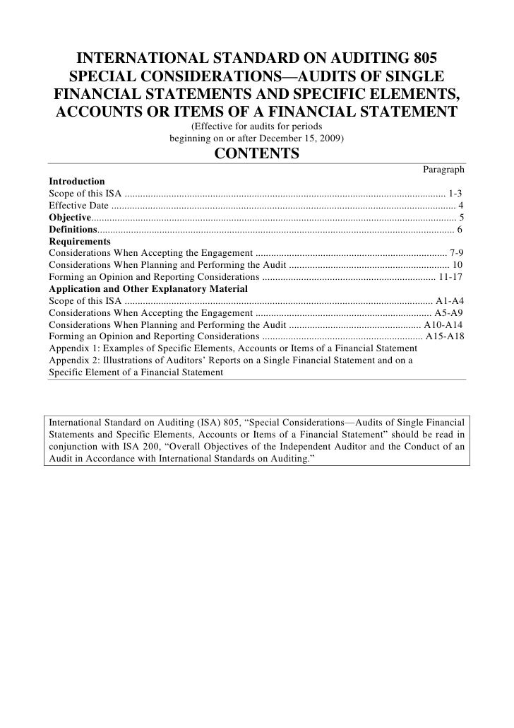 INTERNATIONAL STANDARD ON AUDITING 805<br />SPECIAL CONSIDERATIONS—AUDITS OF SINGLE FINANCIAL STATEMENTS AND SPECIFIC ELEM...