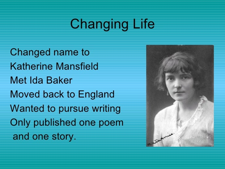 the style of writing in bliss by katherine mansfield English writing-katherine mansfield   i understand that economy of style is an aspect of the short story genre, but katherine mansfield sought to enhance this.