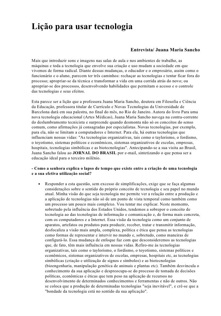 Lição para usar tecnologia                                                          Entrevista/ Juana Maria Sancho  Mais q...
