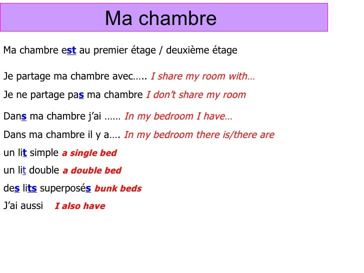 Ma chambre for Chambre in french