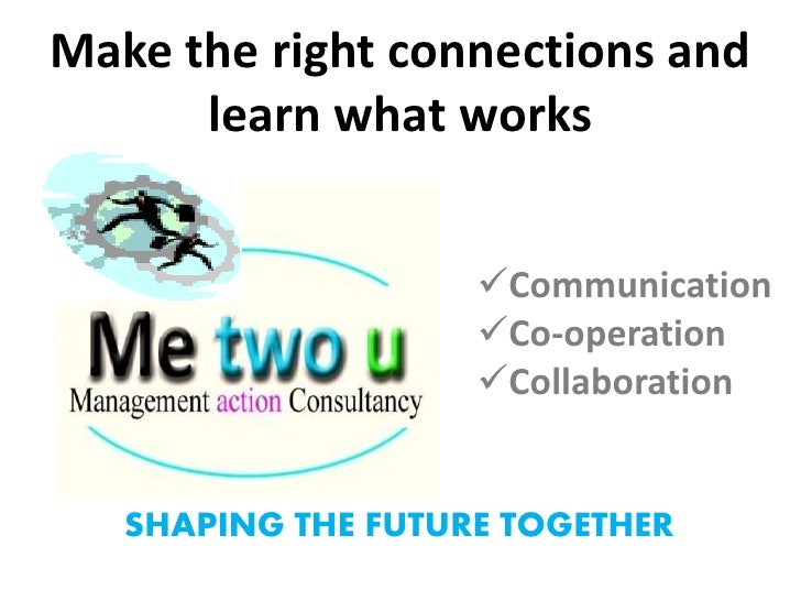 Make the right connections and       learn what works                       Communication                     Co-operati...