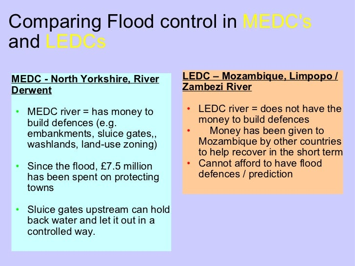flooding impacts ledc and medc Read this essay on prehistoric medc effects of flooding social effects- the biggest, most obvious effect is in a medc, people and governments are better prepared for floods rescue services can be dispatched to a flood quickly in a medc whereas in a ledc.